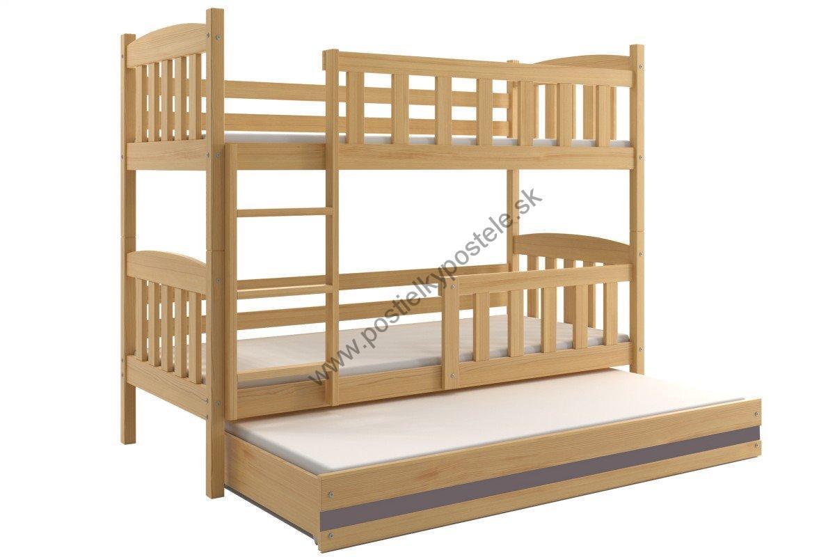 Poschodová posteľ s prístelkou KUBO 3 - 200x90cm Borovica - Grafitová