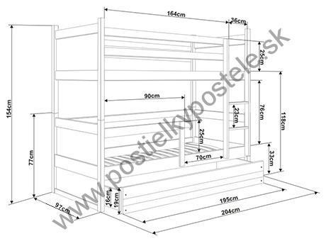 Poschodová posteľ s prístelkou RICO 3 - 200x90cm - Biely - Ružový