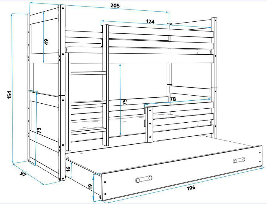 Poschodová posteľ s prístelkou RICO 3 - 200x90cm - Borovica - Ružový