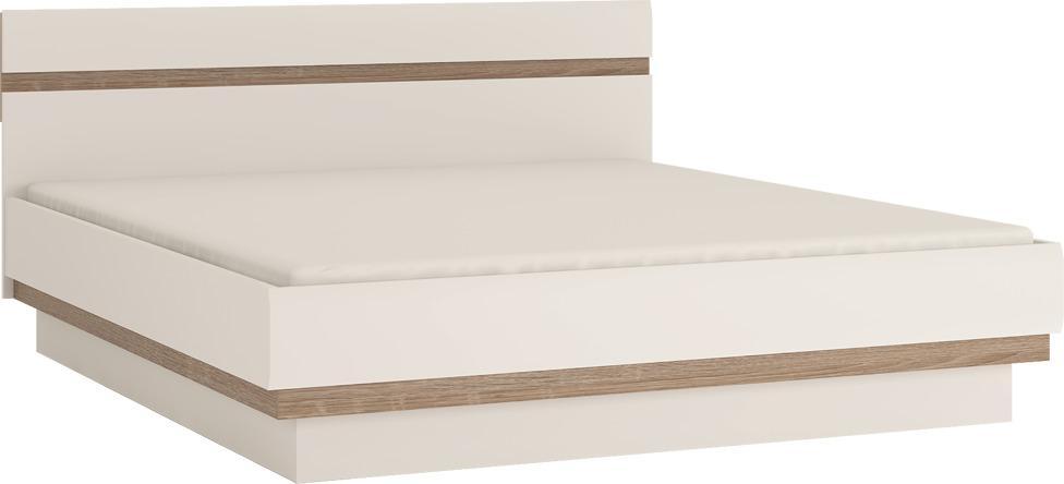 Posteľ 180, biela extra vysoký lesk HG/dub sonoma tmavý truflový, LYNATET TYP 93