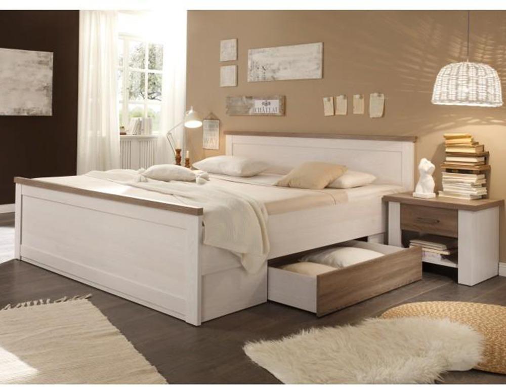 Posteľ + 2x nočný stolík, pínia biela/dub sonoma truflový, LUMERA