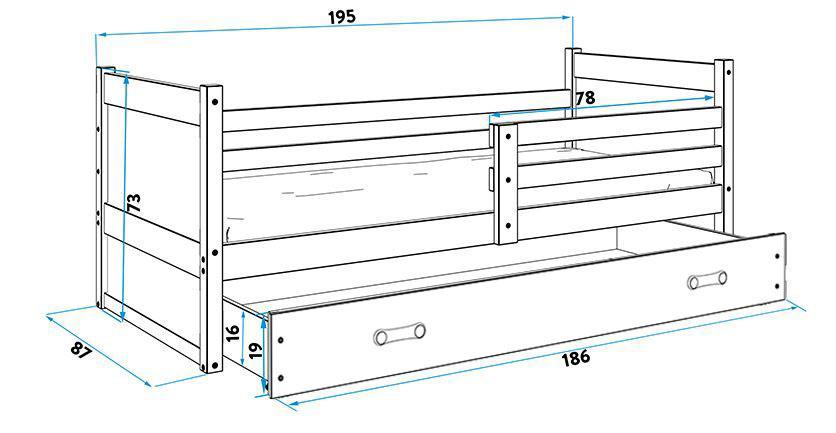 Posteľ RICO 1 - 190x80cm - Biely - Ružový