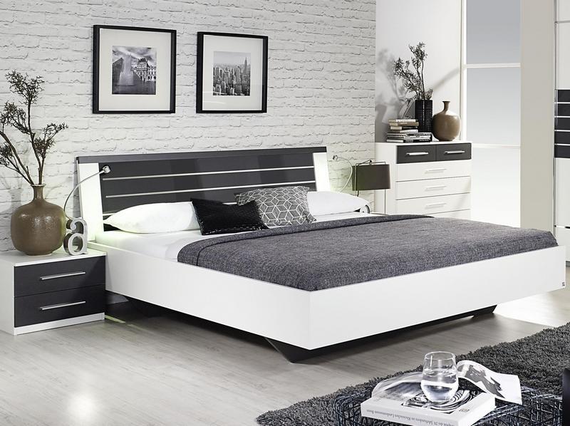 Posteľ s nočnými stolíkmi Nienburg 180x200 cm, biela/tmavá šedá