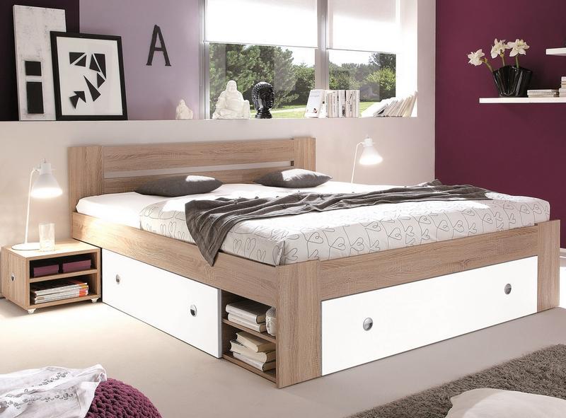Posteľ s nočnými stolíkmi Stefan 140x200 cm, dub sonoma/biela
