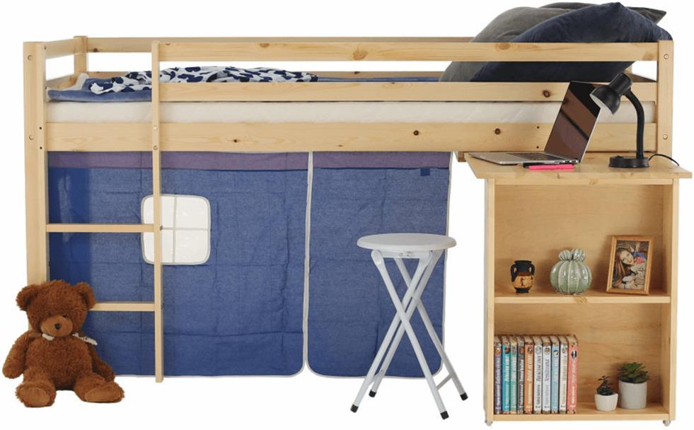 Posteľ s PC stolom, borovicové drevo/modrá, 90x200, ALZENA