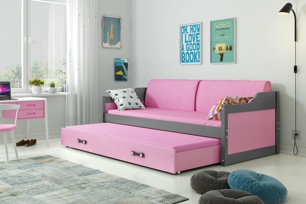 Posteľ s prístelkou DÁVID 190x80cm - Grafitový - Ružový