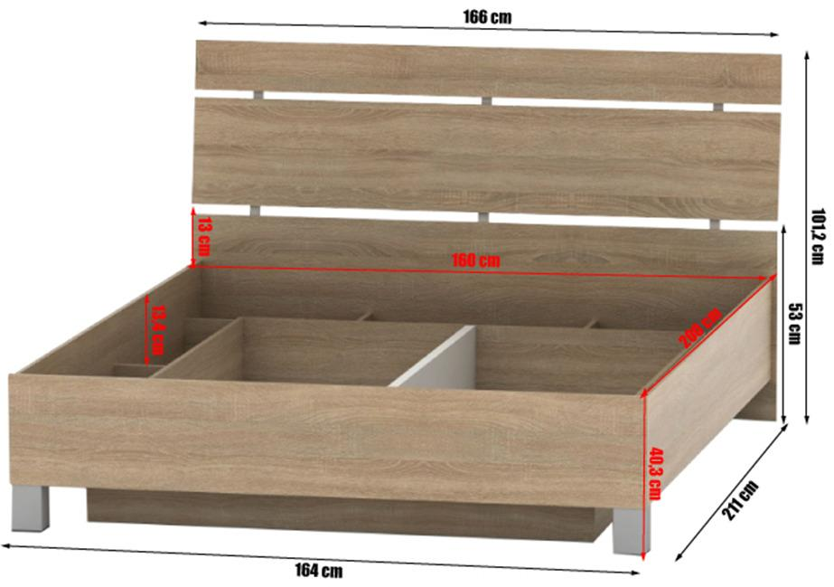 Posteľ s úložným priestorom, dub sonoma, 160x200, LUNA