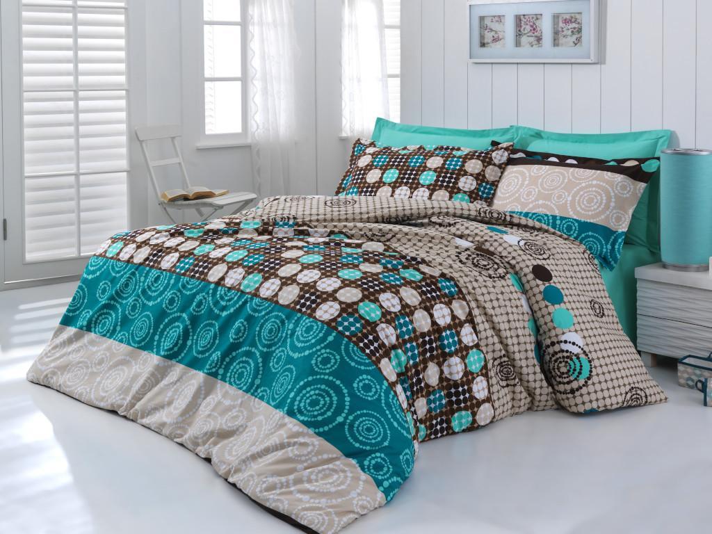 Posteľná bielizeň bavlna Circles tyrkysová/hnedá Veľkosť: obliečka na vankúšik 40x40cm