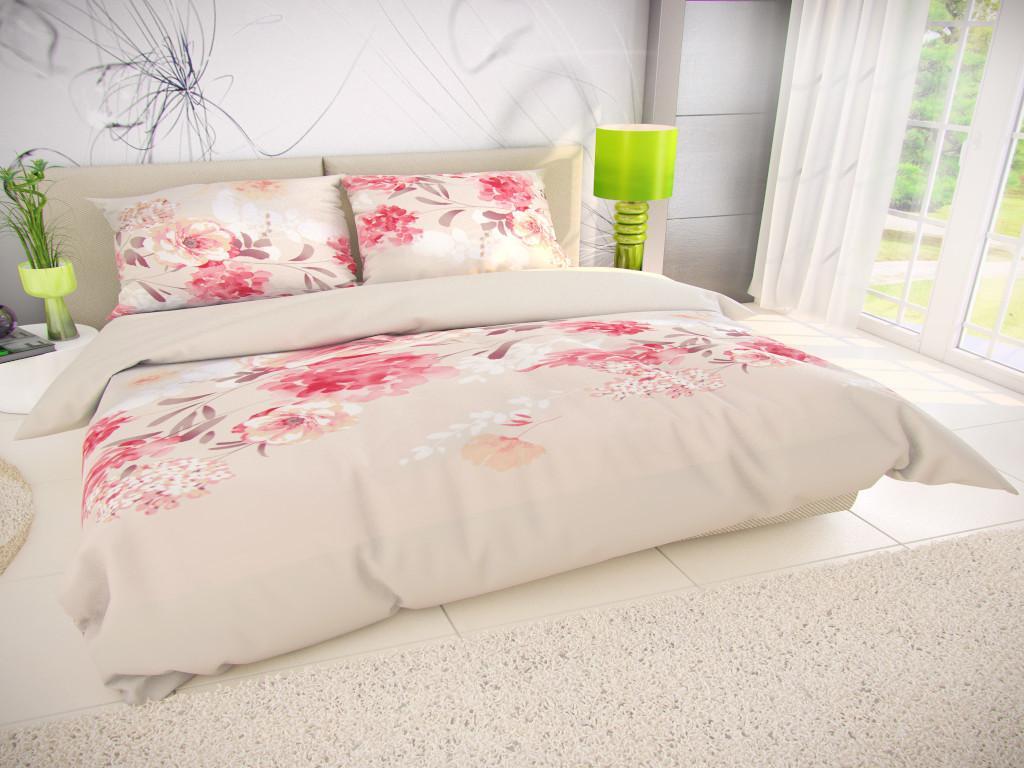 Kvalitex Posteľná bielizeň bavlna Tanea béžová/ružová Veľkosť: obliečka na vankúšik 40x40cm