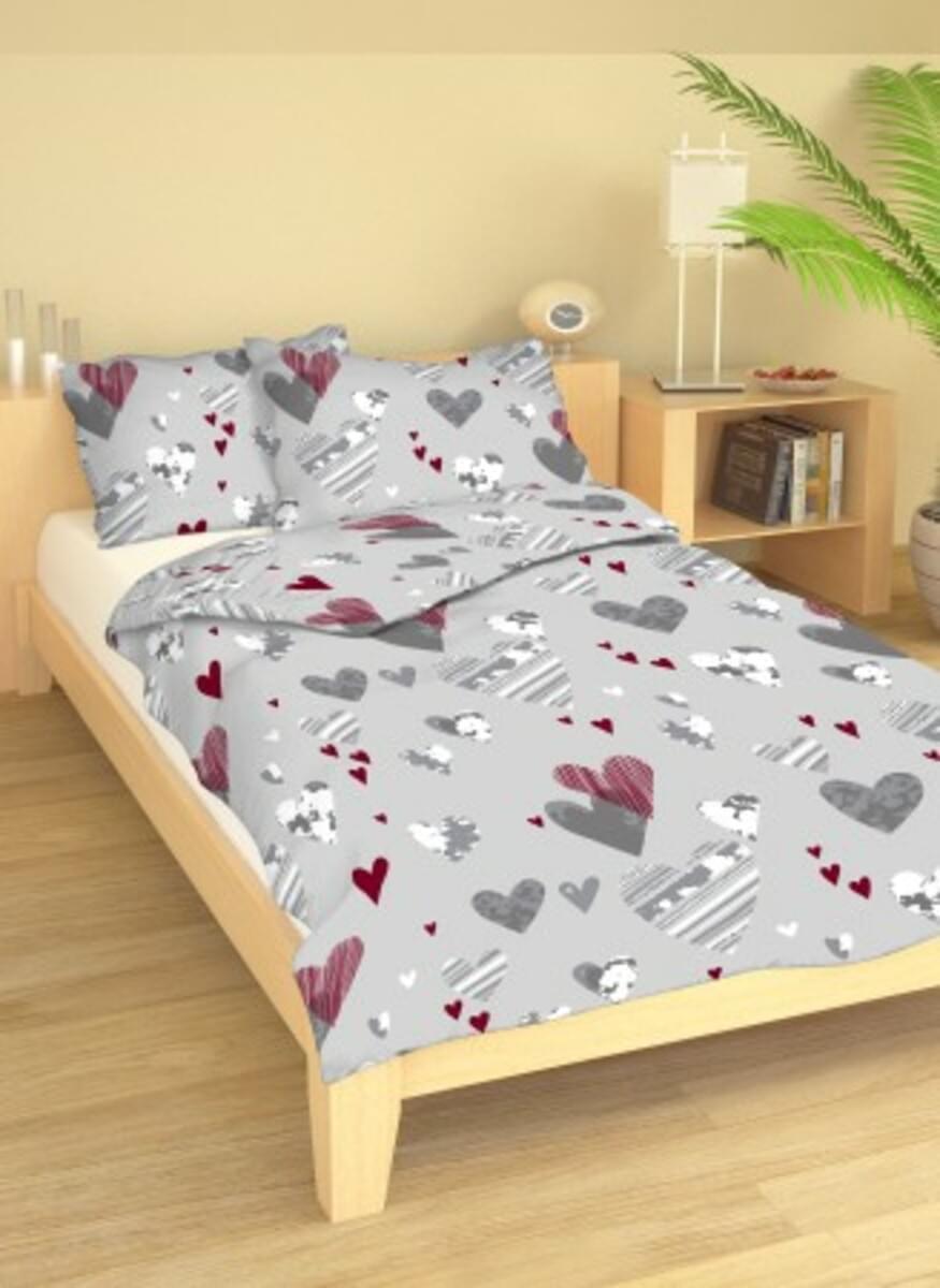 posteľná bielizeň, srdiečka, šedobordové