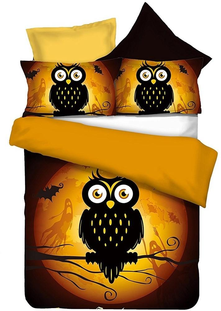 Posteľná bielizeň z mikrovlákna DecoKing Owls GHOSTSTORY s nápisom HAPPY HALLOWEEN