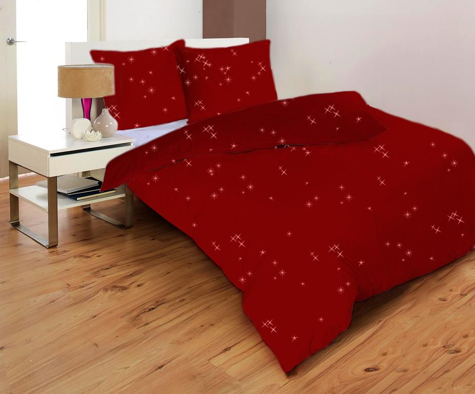 Posteľné obliečky STARS BORDO CHILLI  2+2 | Mikrovlákno | Metalická potlač | 140x200 70x90