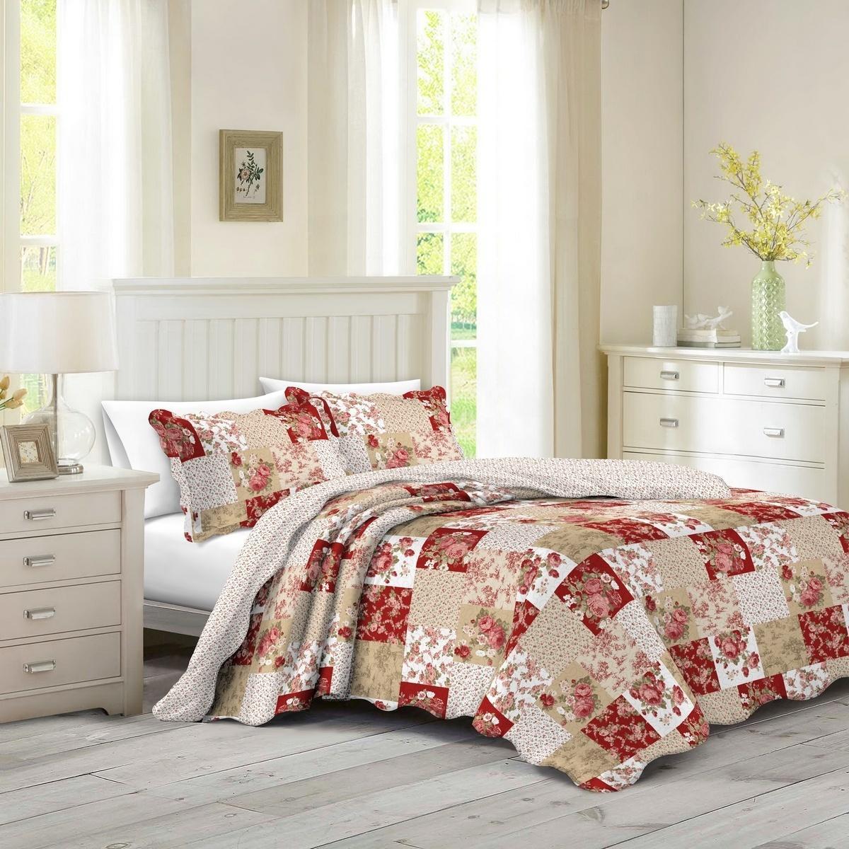 Prehoz na posteľ Patchwork ruže Heda, 230 x 250 cm, 2 ks 50 x 70 cm
