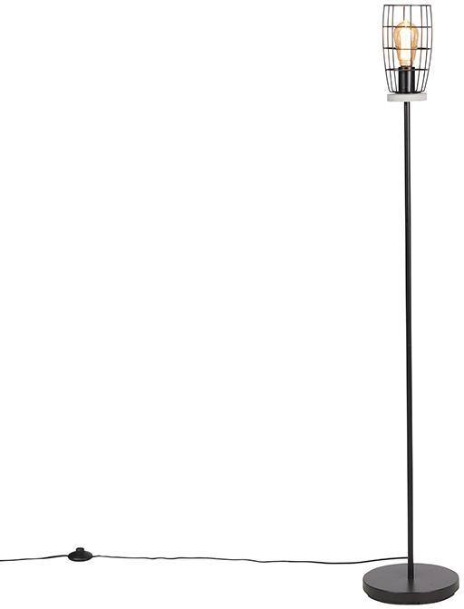 Priemyselná stojaca lampa betónový vzhľad s čiernou farbou - Rohan