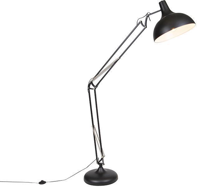 Priemyselná stojaca lampa čierna nastaviteľná - Hobby