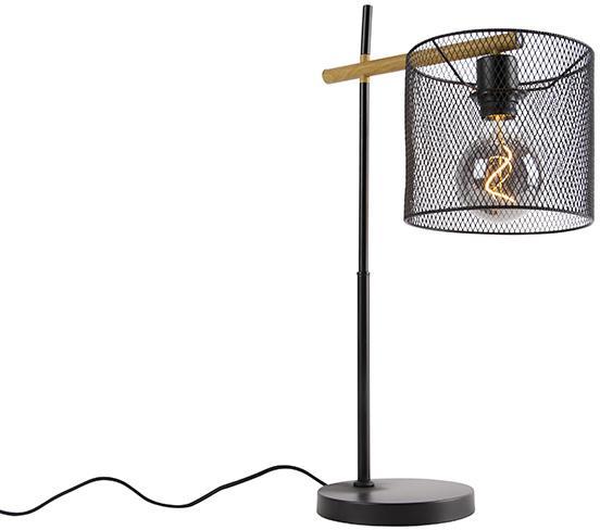 Priemyselná stolná lampa čierna - Drum Mesh