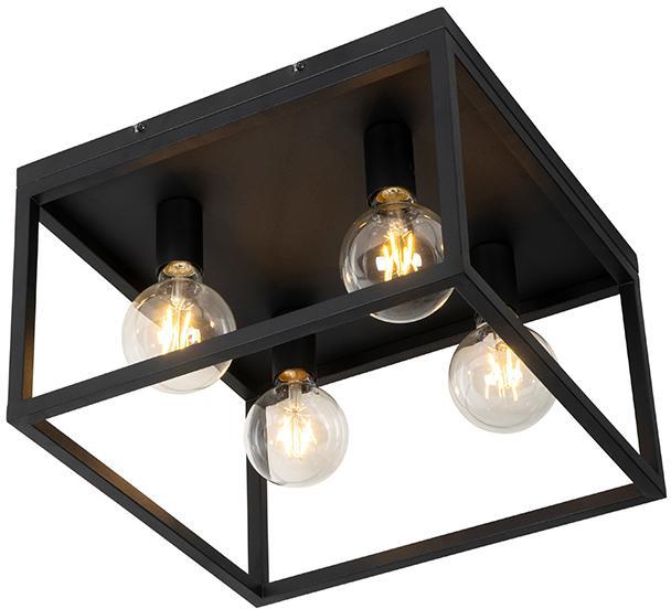 Priemyselná stropná lampa čierna 40 cm 4 -svetelná - Klietka