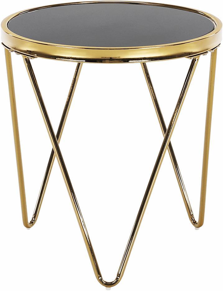 Príručný stolík, gold chróm zlatá/čierna, VALERO