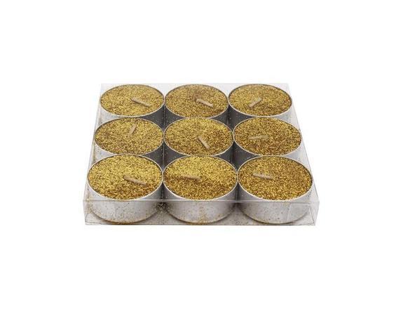 Provence Sviečka čajová, trblietavá, 9 ks, zlatá
