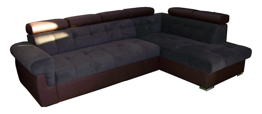 PYKA Atlanta P rohová sedačka s rozkladom a úložným priestorom tmavosivá / hnedá