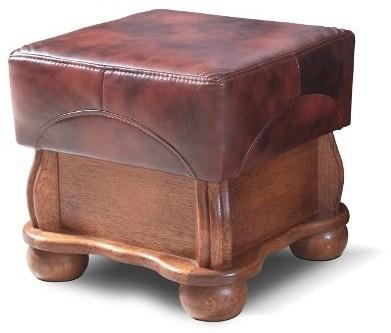 PYKA Parys kožená taburetka drevo D3 / svetlohnedá (Antyk S40)