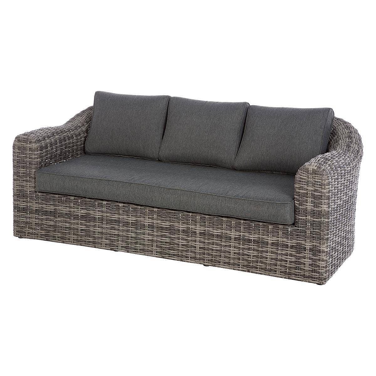 Ratanová lavica pre 3 osoby BORNEO (sivá)
