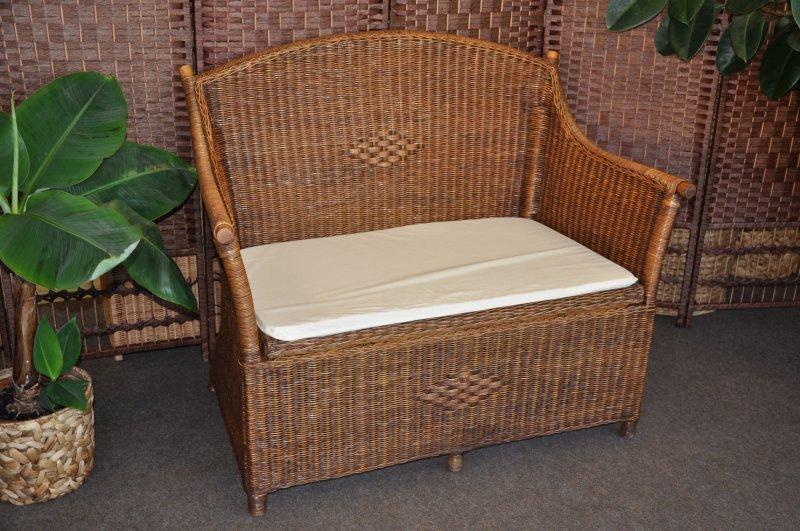 Ratanová lavica s úložným priestorom brown wash