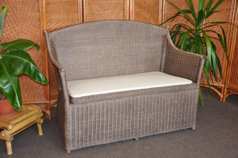 Ratanová lavica s úložným priestorom hnedá I