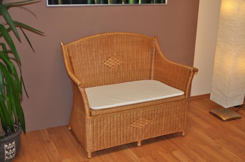 Ratanová lavica s úložným priestorom medová