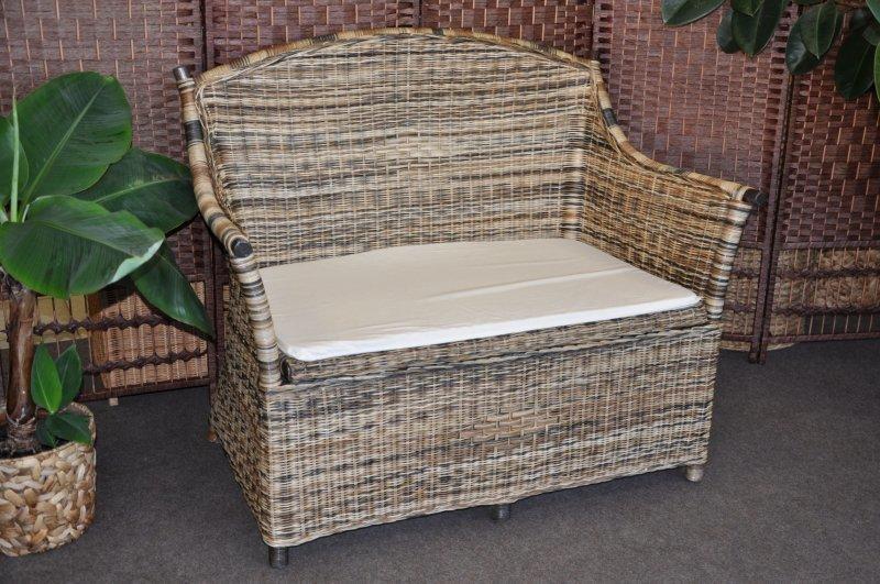 Ratanová lavica s úložným priestorom wicker mix