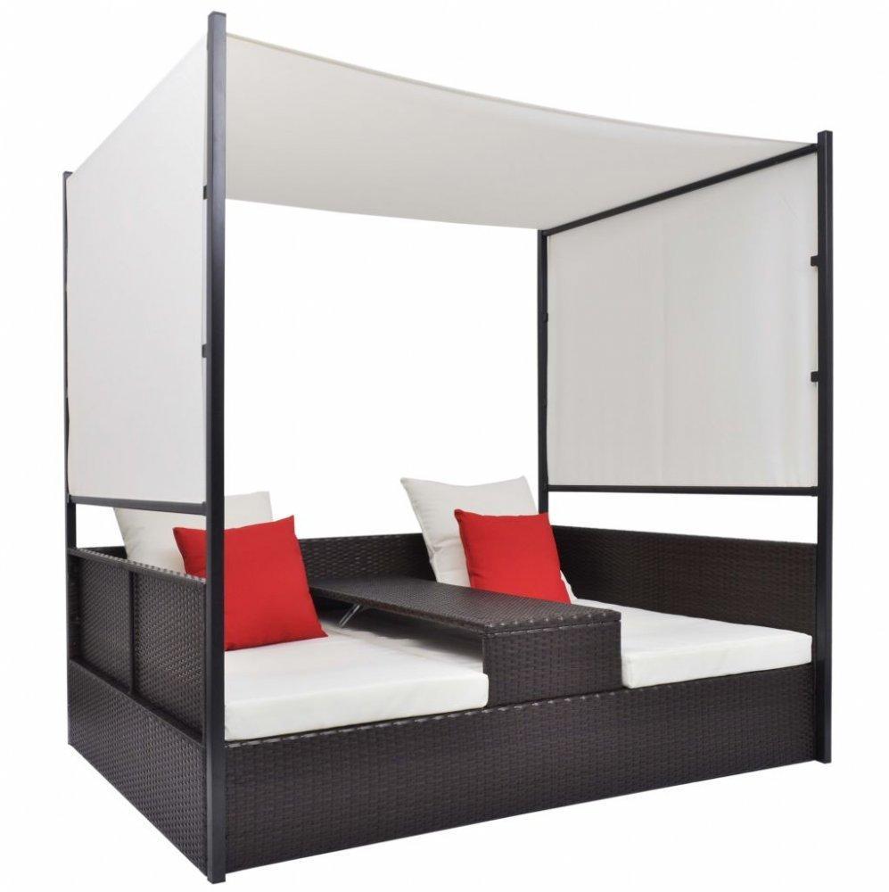 Ratanová posteľ s baldachýnom Hnedá