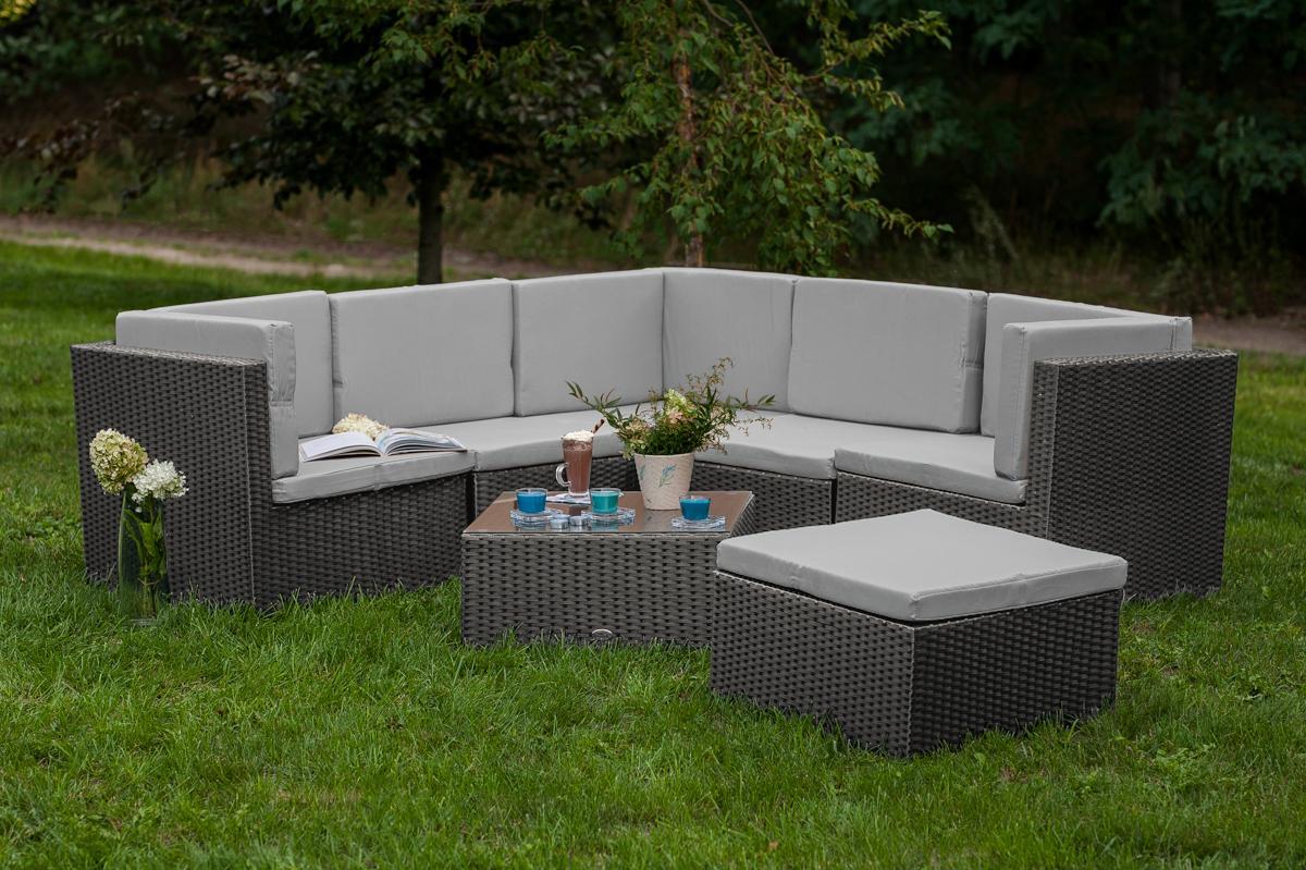 Ratanový nábytkový set TINTO GRANDE - šedý