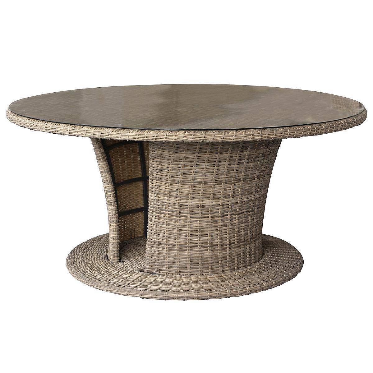 Ratanový stôl jedálenský BORNEO priemer 160 cm (hnedá)