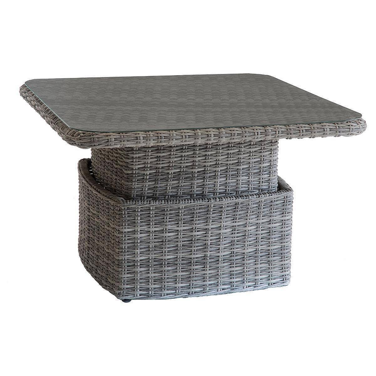 Ratanový stôl jedálenský/odkladací BORNEO (sivá)