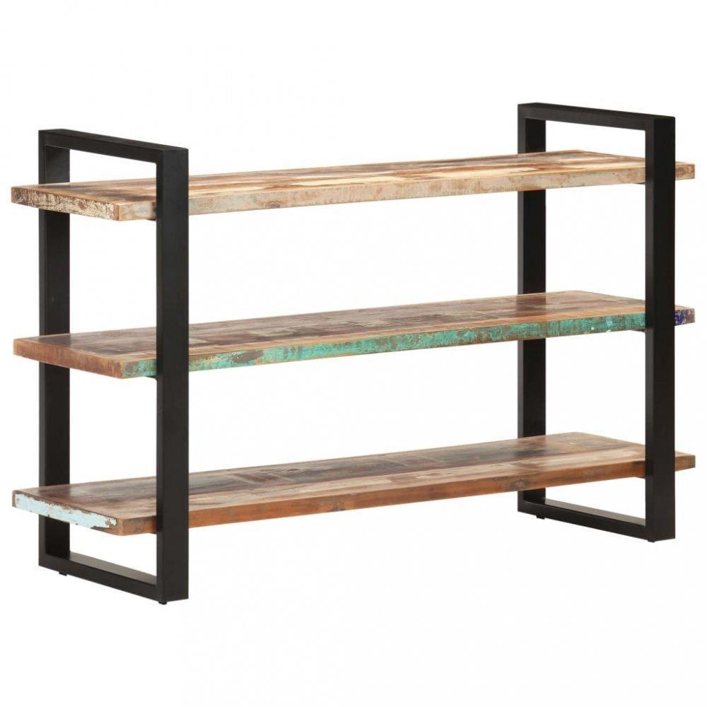 Regál 3 police hnedá / čierna Dekorhome Recyklované drevo