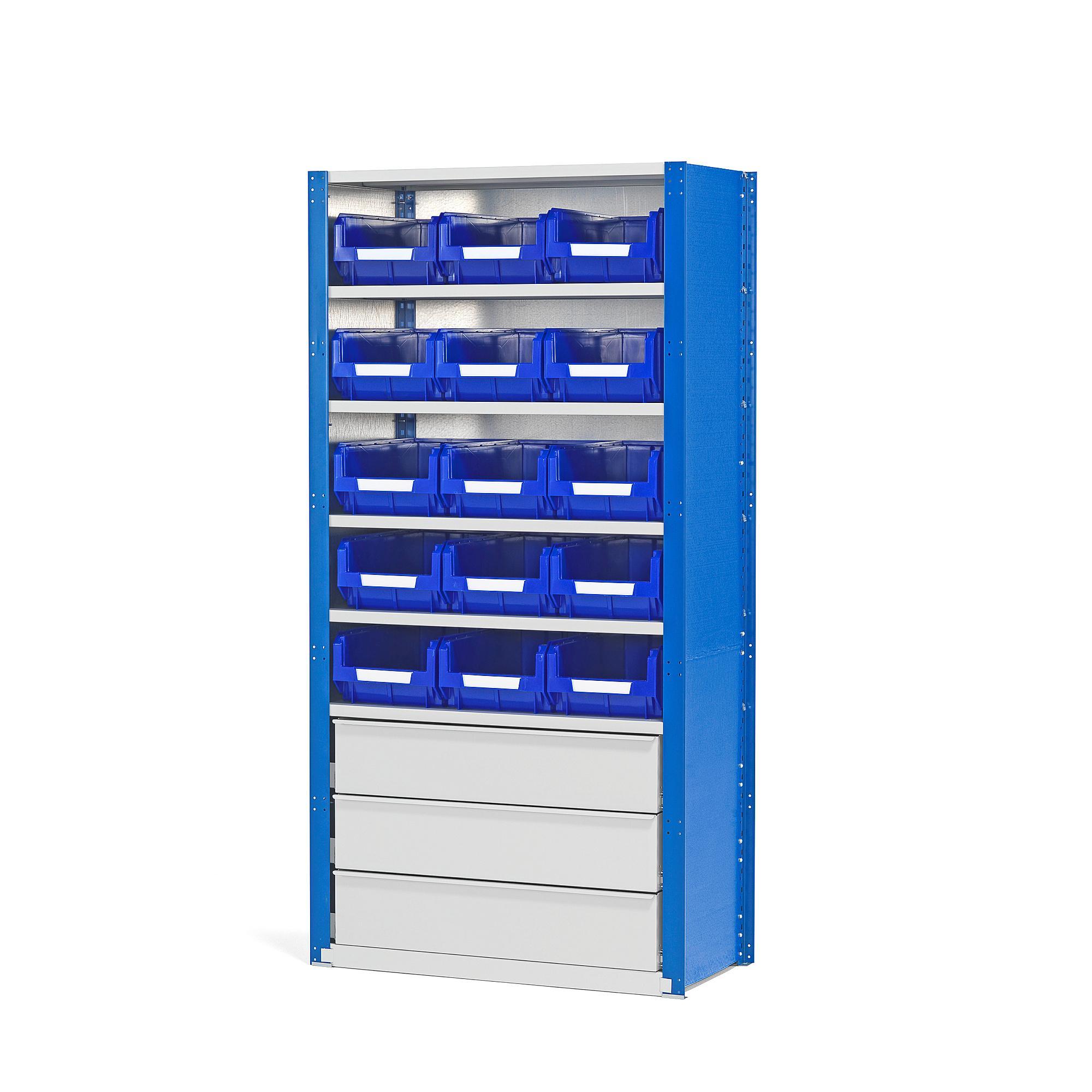 Regál Mix so zásuvkami a 15 boxami, 2100x1000x500 mm
