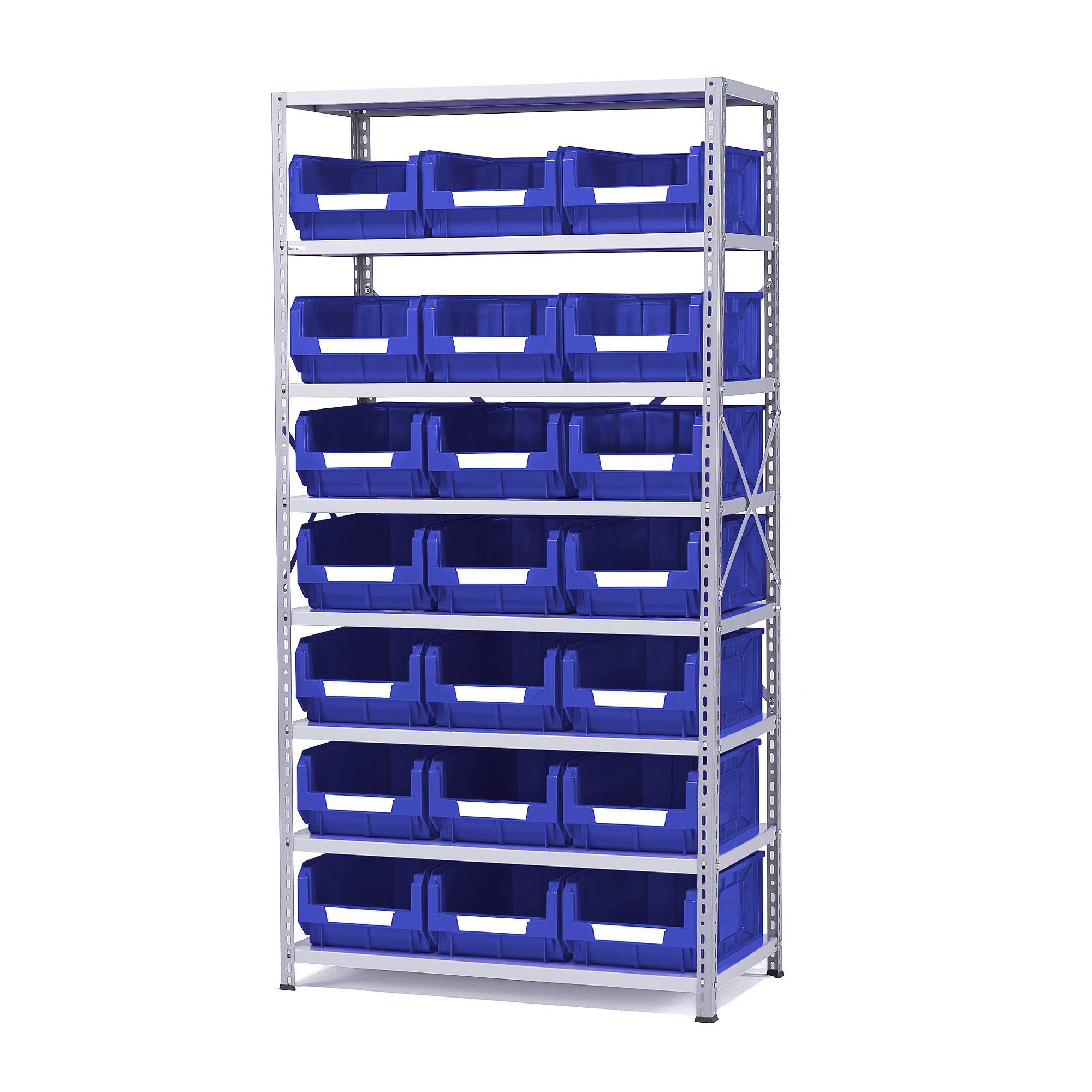Regál na plastové boxy, 21 boxov, 1970x1000x500 mm, modré boxy