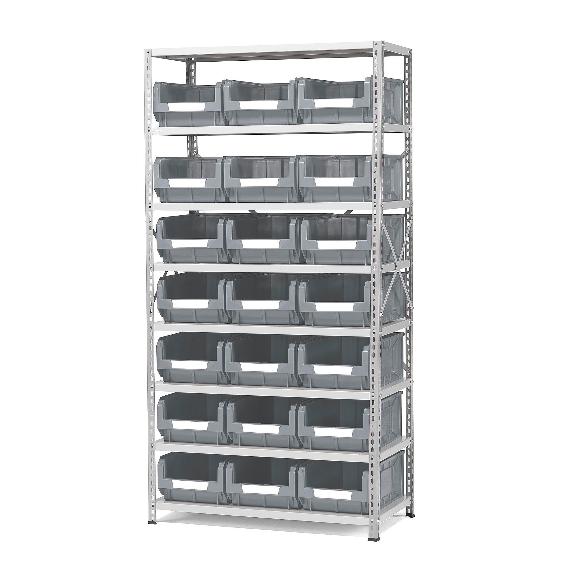 Regál na plastové boxy, 21 boxov, 1970x1000x500 mm, šedé boxy