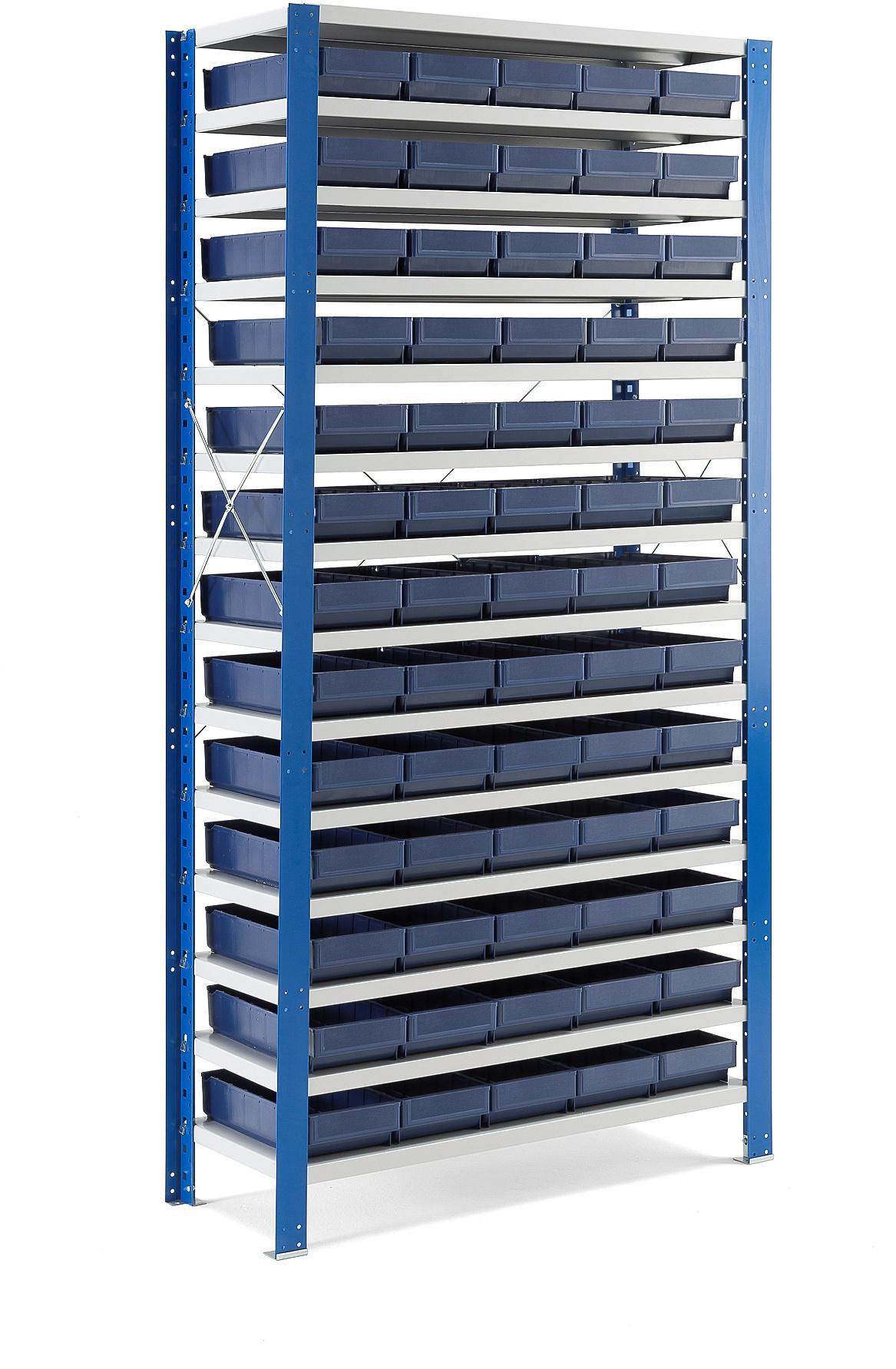 Regál na plastové boxy, 65 boxov, 2100x1000x500 mm, modré boxy