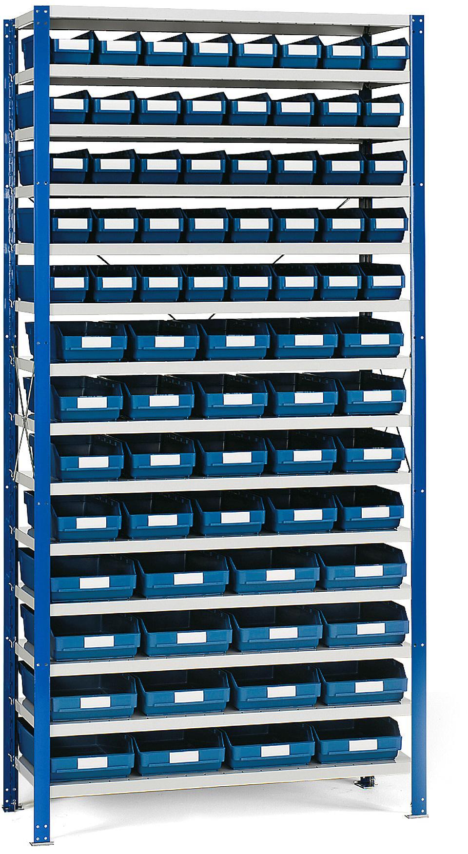 Regál na plastové boxy, 76 boxov, 2100x1000x500 mm, modré boxy