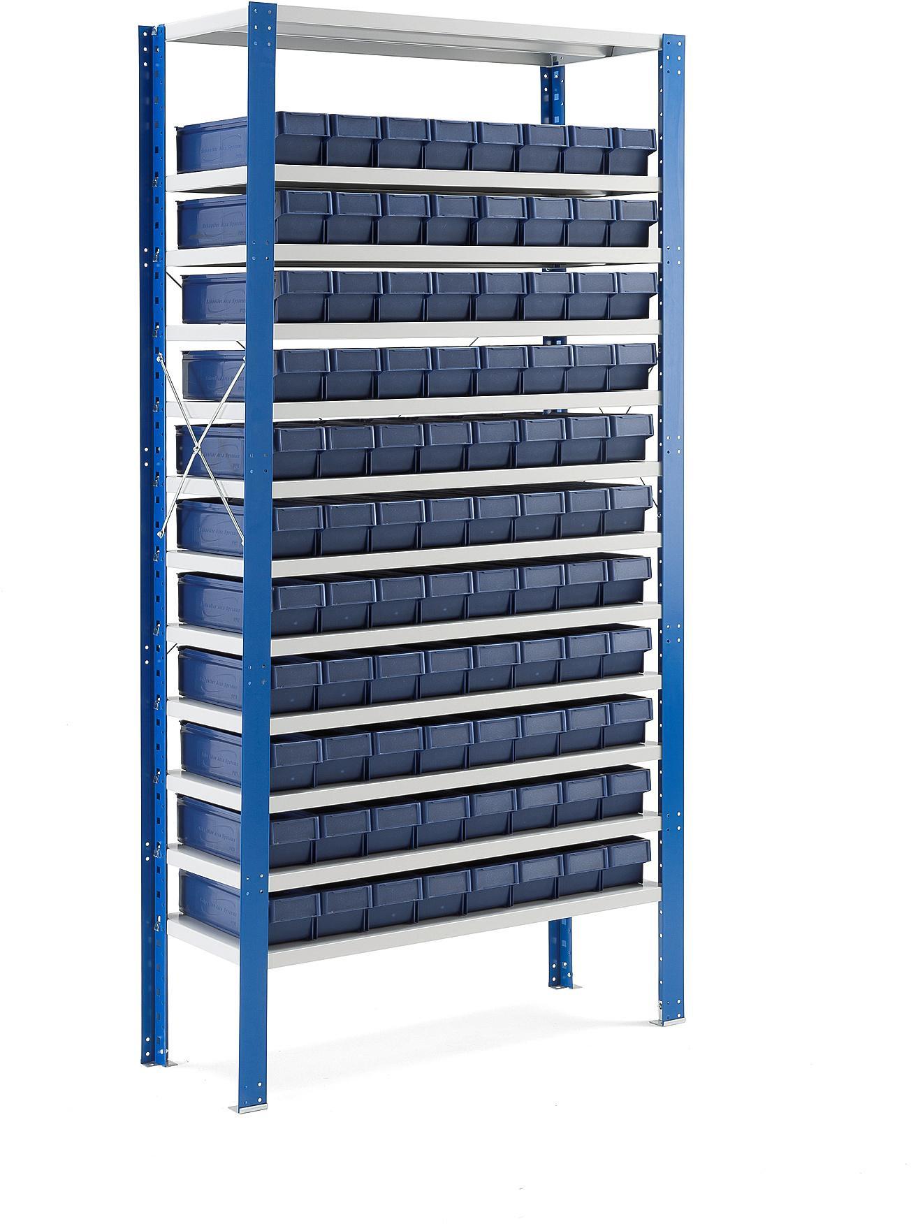 Regál na plastové boxy, 88 boxov, 2100x1000x400 mm, modré boxy