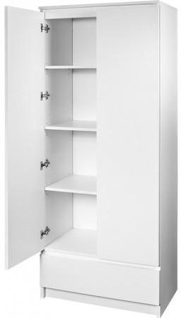 Regál R 60 cm 1 zásuvka 2 dvierka biely
