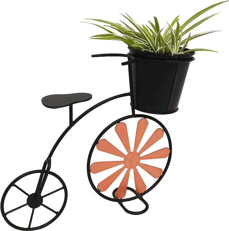 Retro kvetináč v tvare bicykla, bordová/čierna, SEMIL