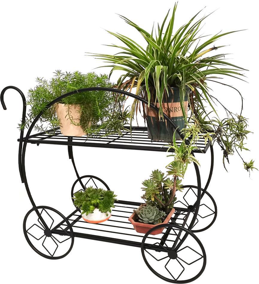 Retro stojan na kvety, vozík, čierna, ODRIO