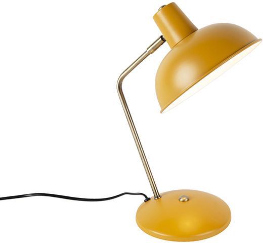 Retro stolová lampa žltá s bronzom - Milou
