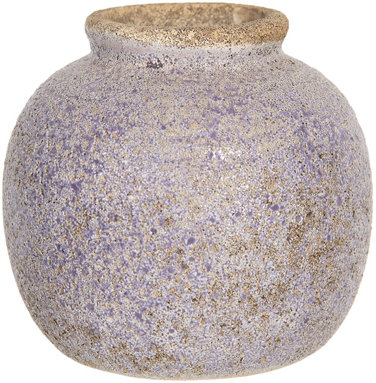 Retro váza s nádychom fialovej a odreninami - Ø 8 * 8 cm