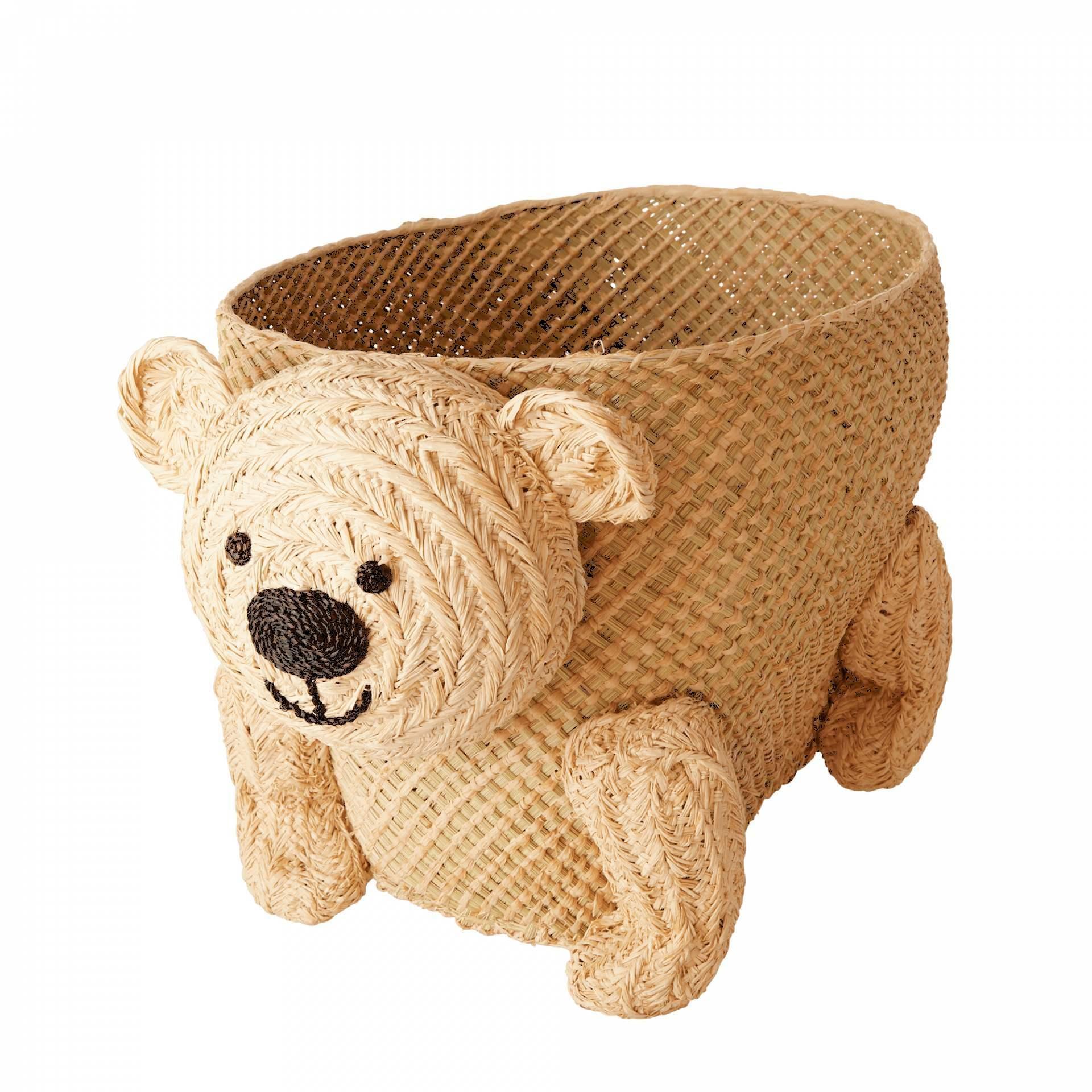 rice Detský úložný kôš Bear Raffia