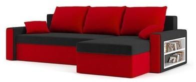 Rohová rozkladacia sedacia súprava DRIVE Pravá Čierna/červená