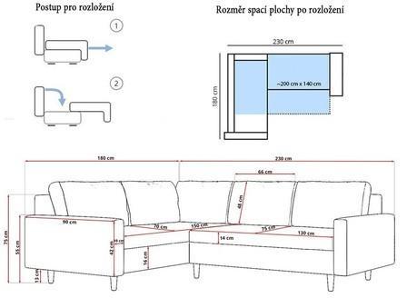 Rohová rozkladacia sedacia súprava ETNA II Pravá Bordó