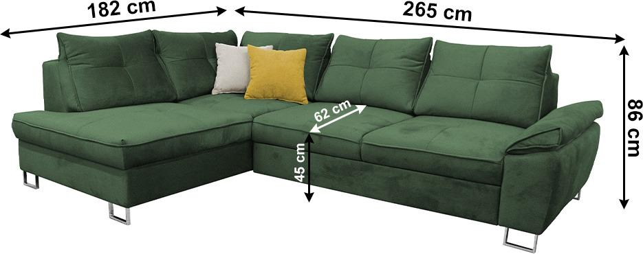 Rohová rozkladacia sedačka, smaragdová Tatum látka, ľavá, FELDA